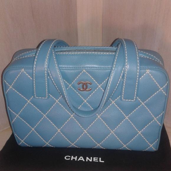 3e675df3525a CHANEL Handbags - Authentic Chanel Surpique Wild Stitch Blue Purse